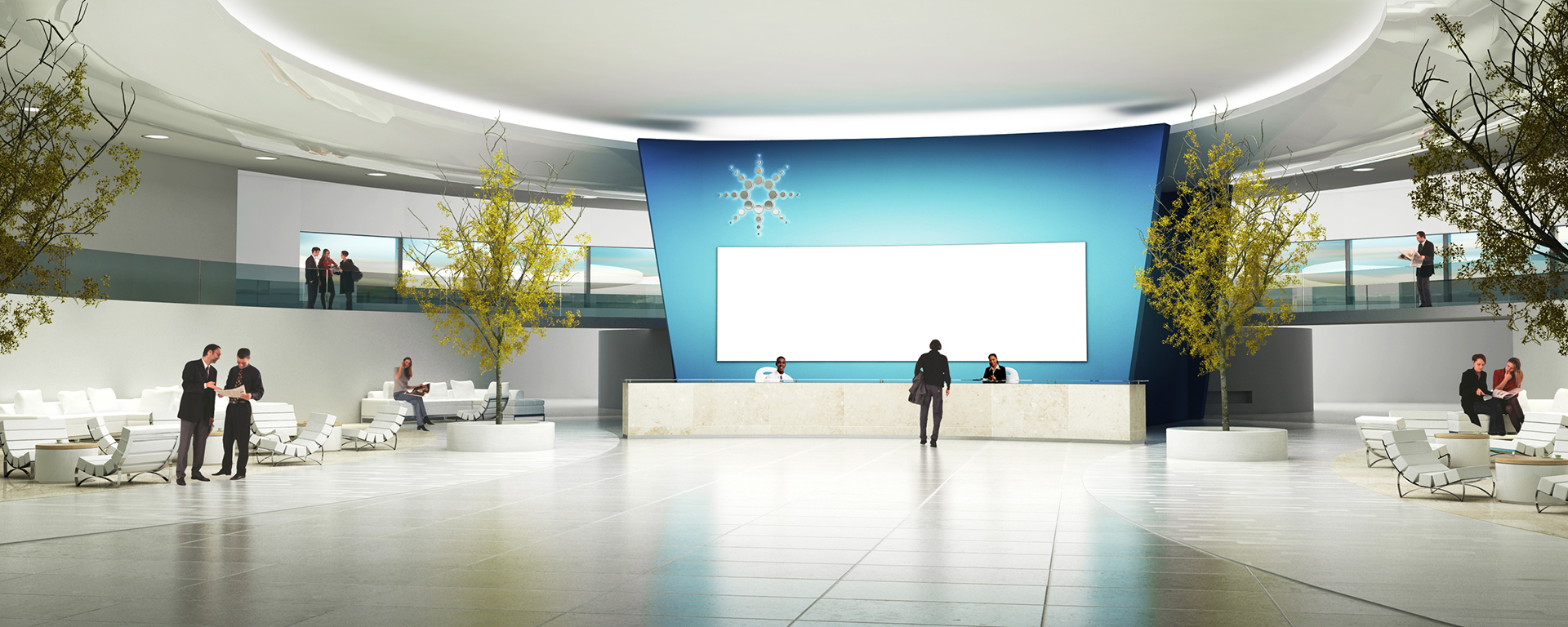 3D Futuristic Corporate Building Reception Lobby Illustration