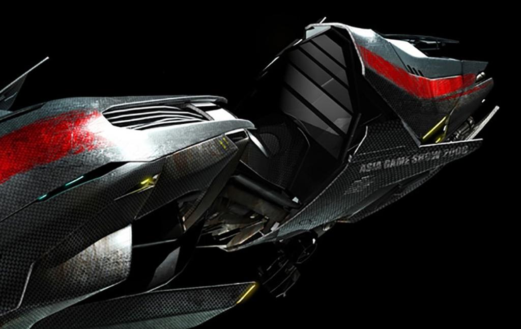 3D Futuristic Hover Jet Bike Concept Illustration Thumbnail