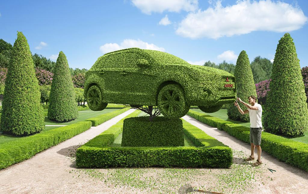 3D Green Cars Hedge Illustration Thumbnail