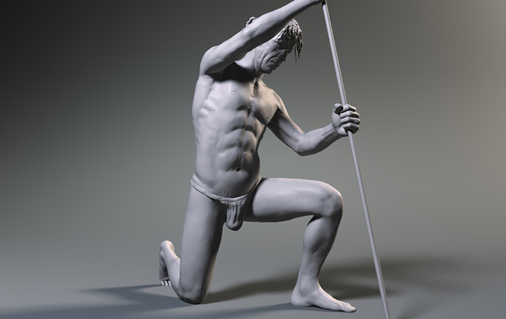 3D Male Study Pose Illustration Thumbnail