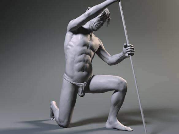 3D Male Study Pose Illustration Thumbnail