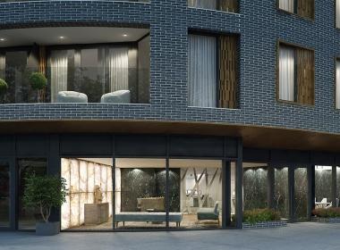 3D Modern City Apartment Exterior Illustration Thumbnail