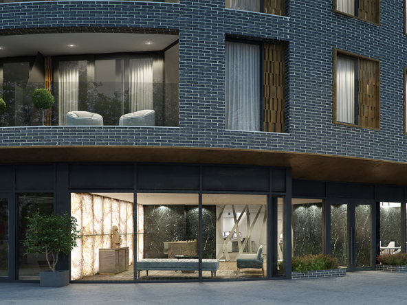 3D Modern City Apartment Exterior Illustration Thumbnail