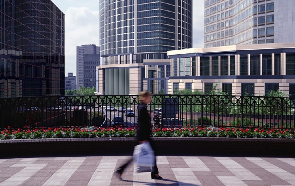 3D Modern City Footbridge Architectual Illustration Thumbnail