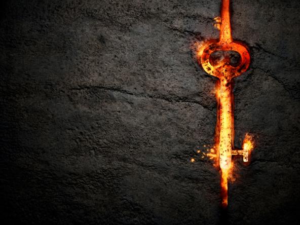3D Molten Iron Key CGI Illustration