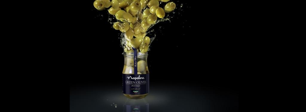 3D Napolina Green Olives Explosion Product Food Illustration Thumbnail