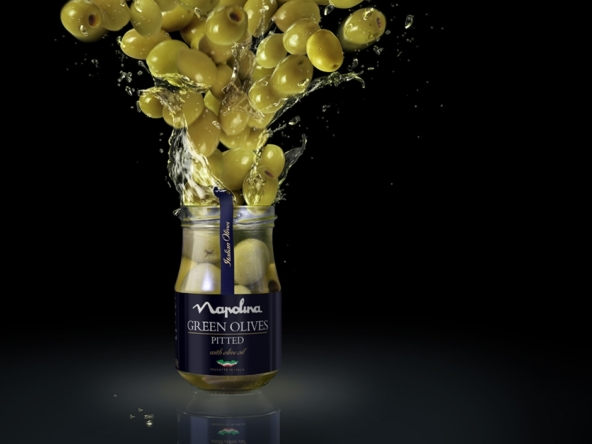 3D Napolina Green Olives Explosion Product Food Illustration Thumbnail
