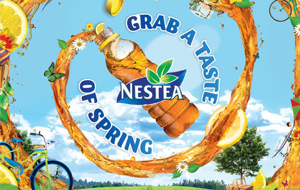 3D Liquid Nestea Lemon Flavour Spiral Spring Plastic Bottle Illustration Thumbnail