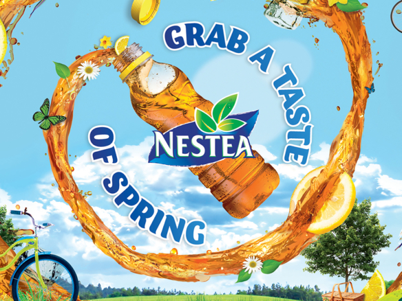 3D Liquid Nestea Lemon Flavour Spiral Spring Plastic Bottle Illustration Thumbnail