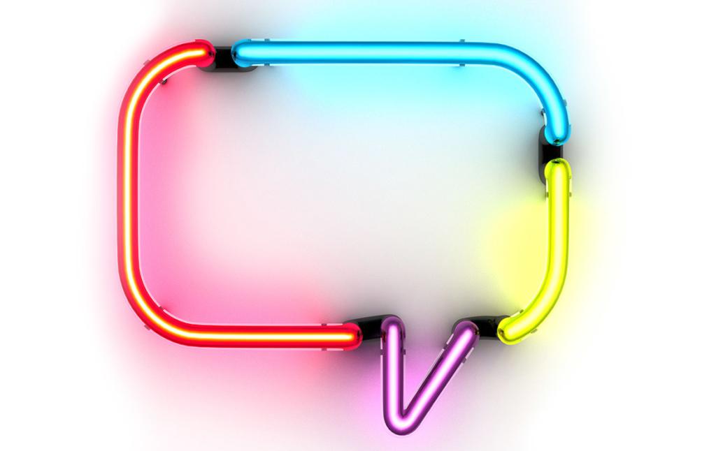 3D Speech Bubble Neon Light Illustration