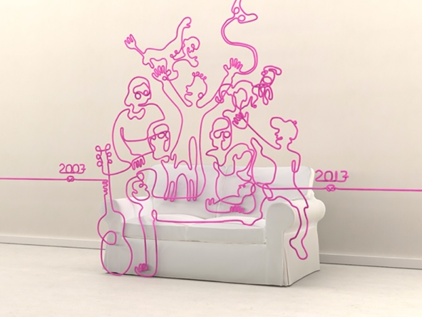 3D Wire Family Sofa Illustration