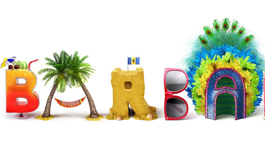 Barbados Beach Themed 3D Text Illustration