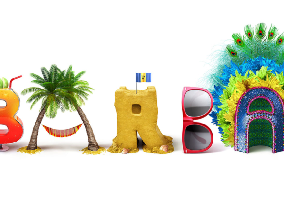 Barbados Beach Themed 3D Text Illustration
