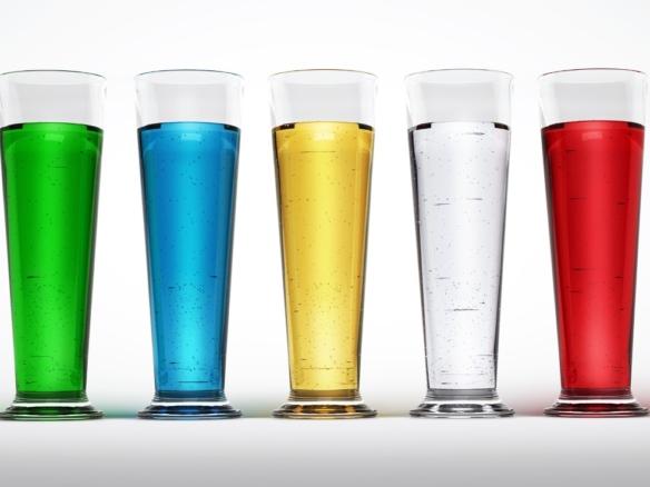 3D Coloured Liquid Fluid In Tall Glasses thumbnail