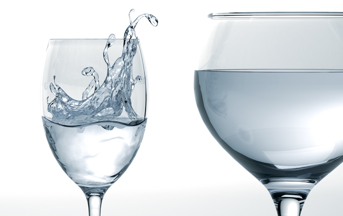 3D clear liquid in a wine glasses water