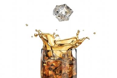 3D glass with coke liquid wine inside