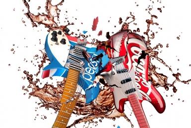 3D liquid fluid of smashing electric guitars