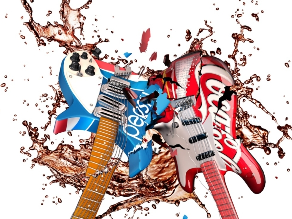 3D liquid fluid of smashing electric guitars
