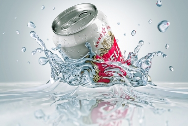 3D liquid splash Lager Can stella artois