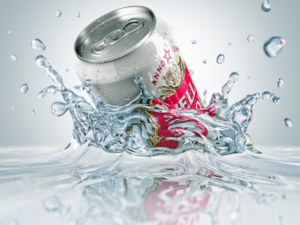 3D liquid splash Lager Can stella artois