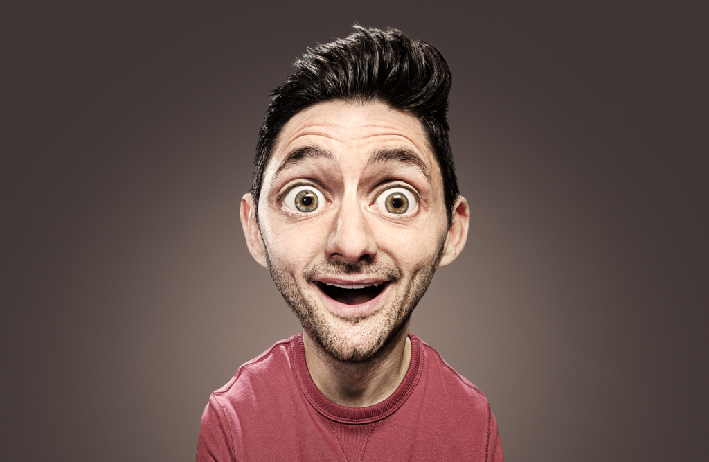 2D Big Head Man Photo Retouch Illustration