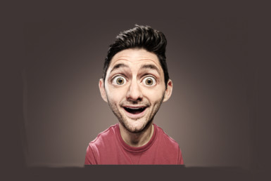 2D Big Head Man Photo Retouch Illustration Thumbnail