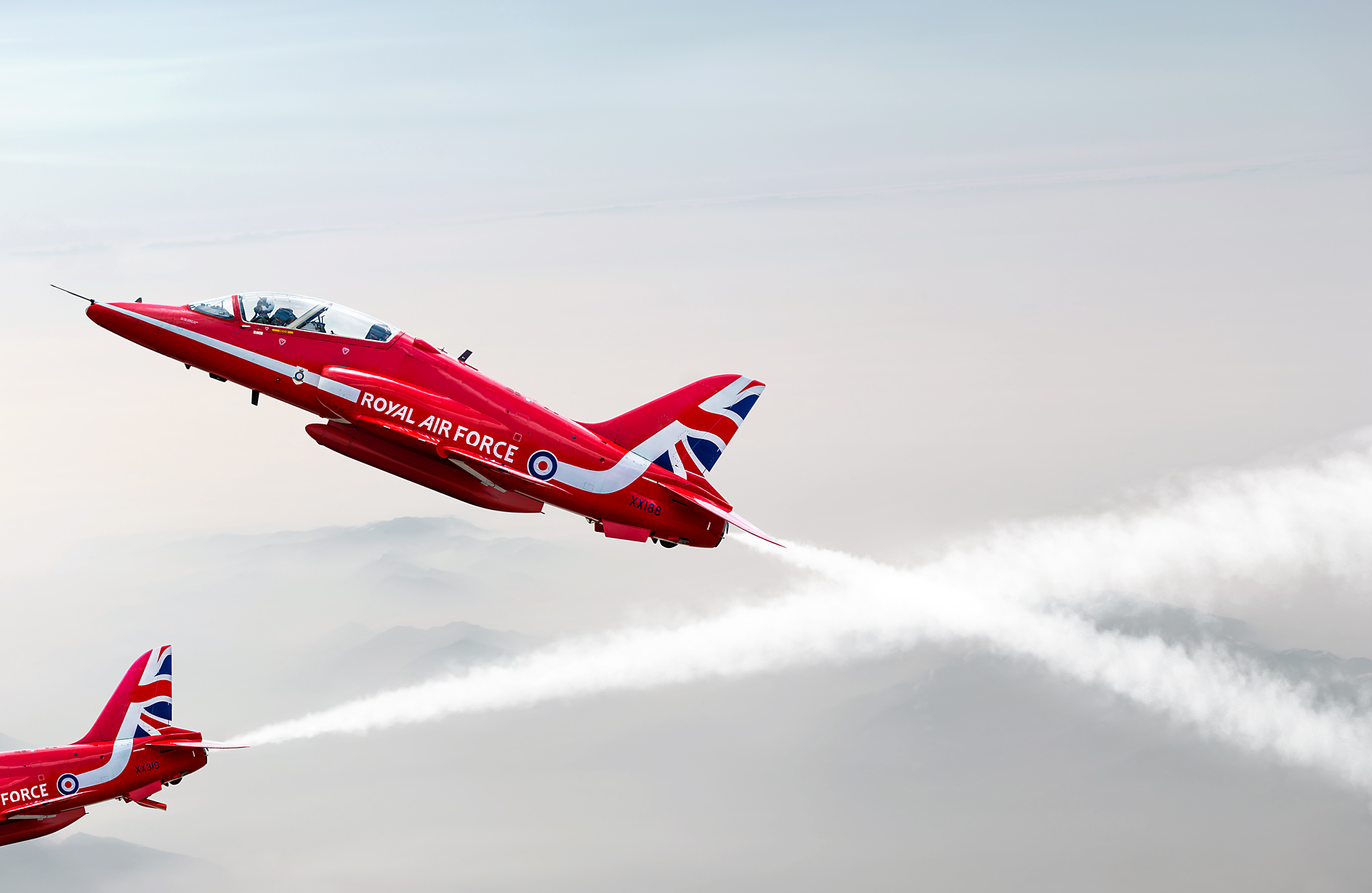 2D Red Arrows Jet Planes Photo Retouch Illustration
