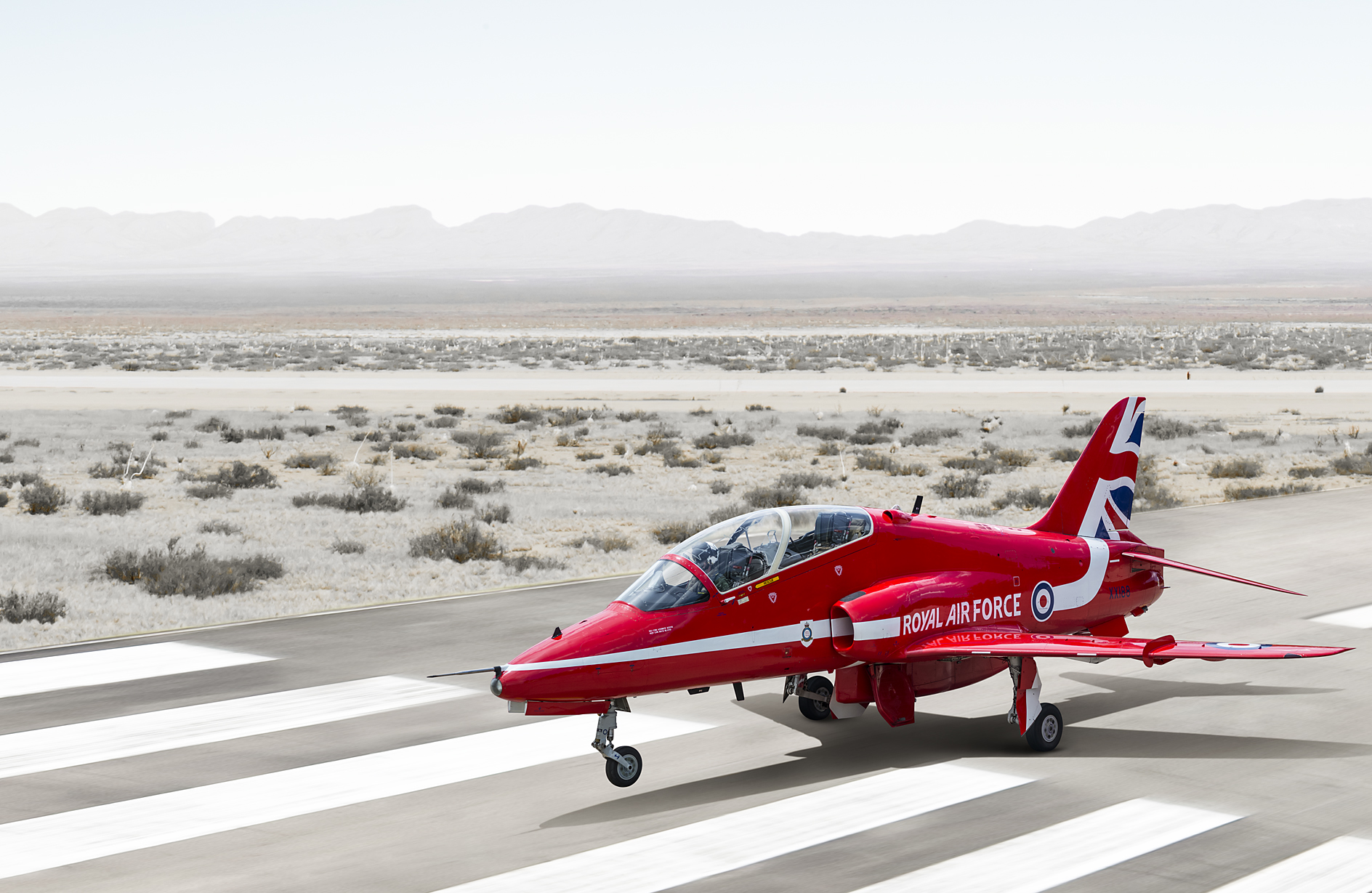2D Red Arrows Jet Runway Photo Retouch Illustration