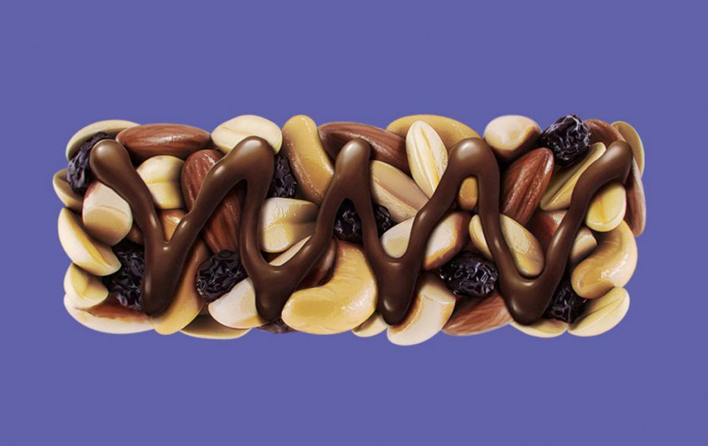 3D Chocolate Fruit and Nut Bar Illustration Thumbnail