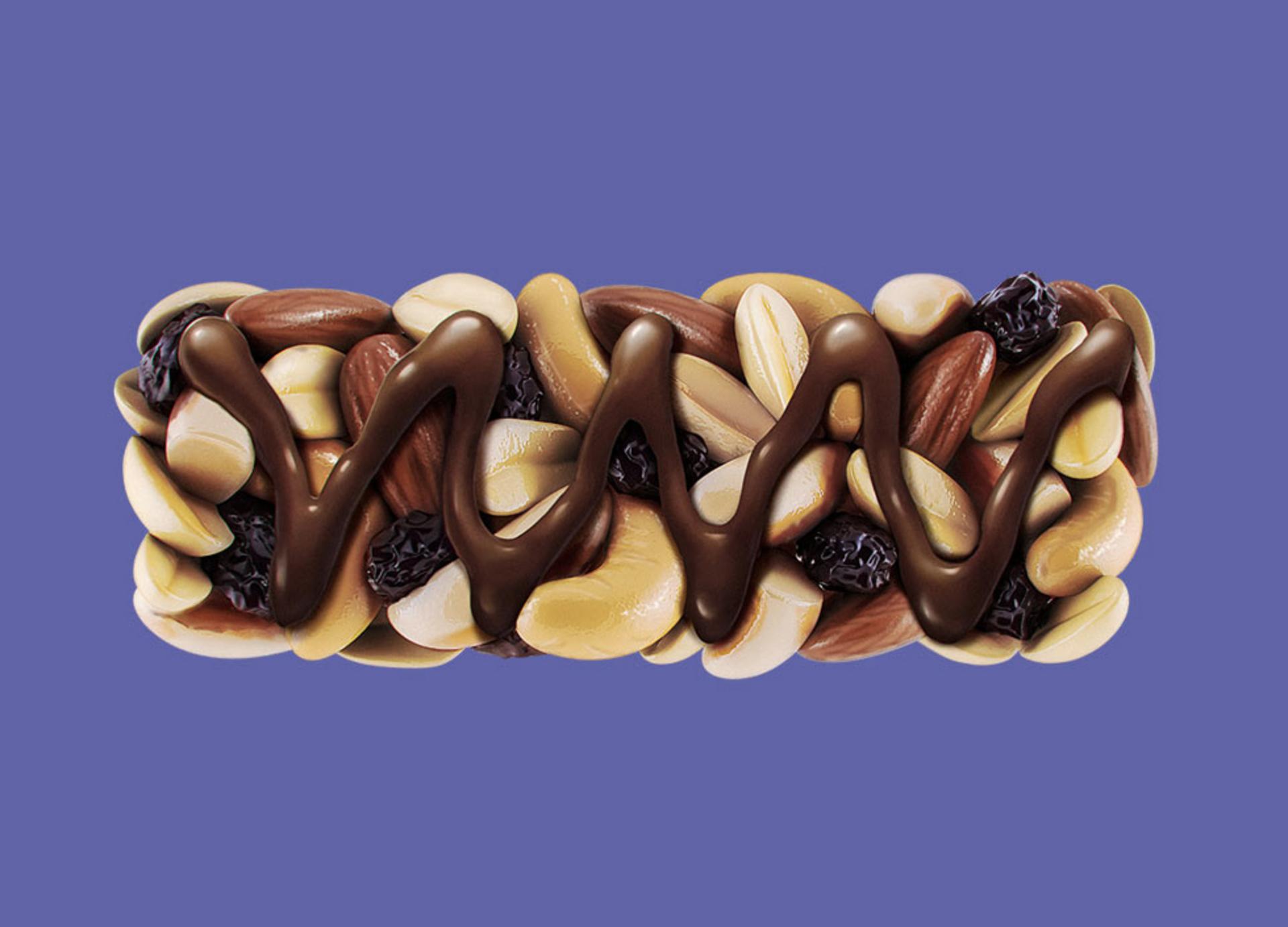 3D Chocolate Fruit and Nut Bar Illustration
