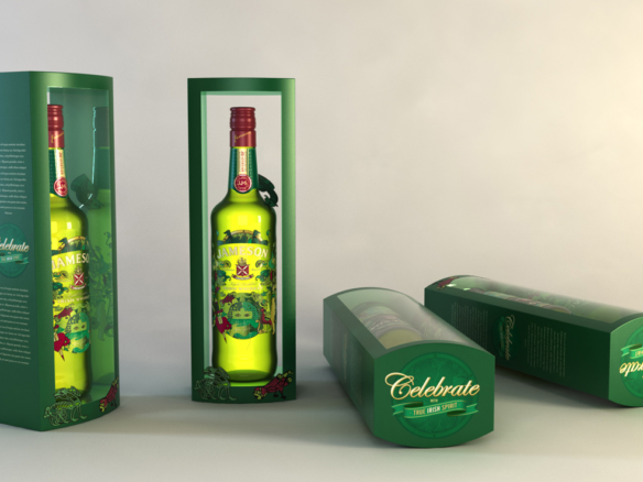 3D Jameson Irish Whisky Bottle Packaging Illustration Thumbnail