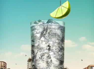 3D Liquid Gordons and Schweppes Glass Illustration Thumbnail