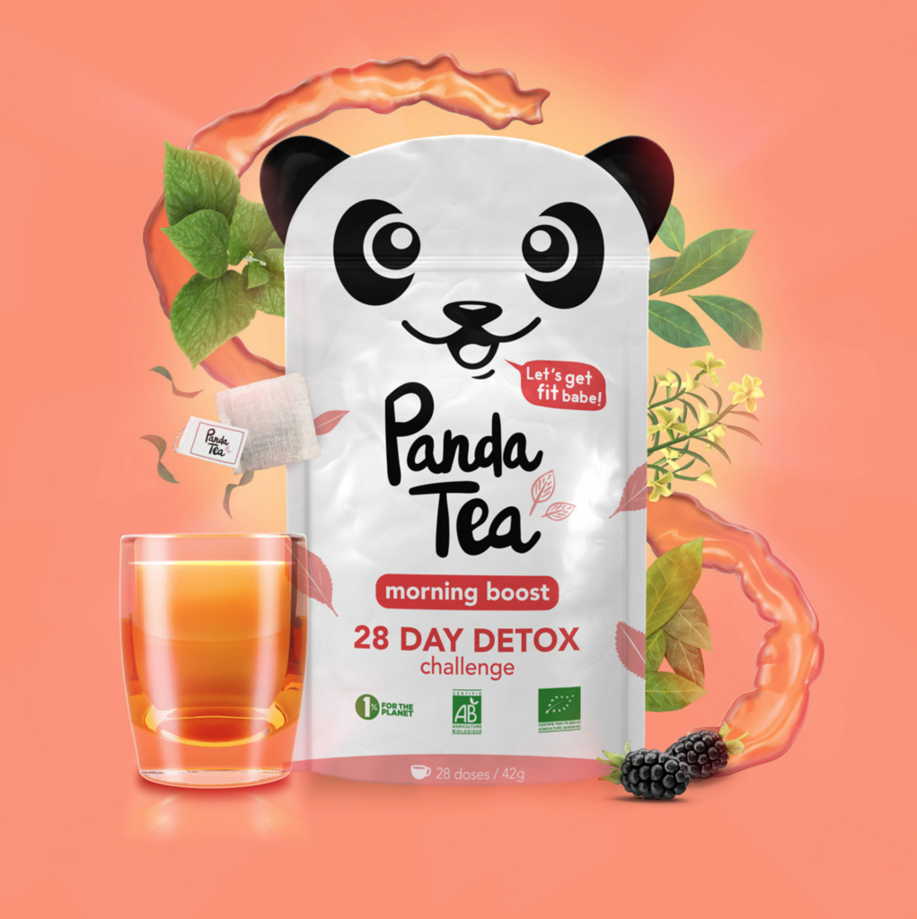 3D Liquid Panda Peach Tea Packaging Illustration