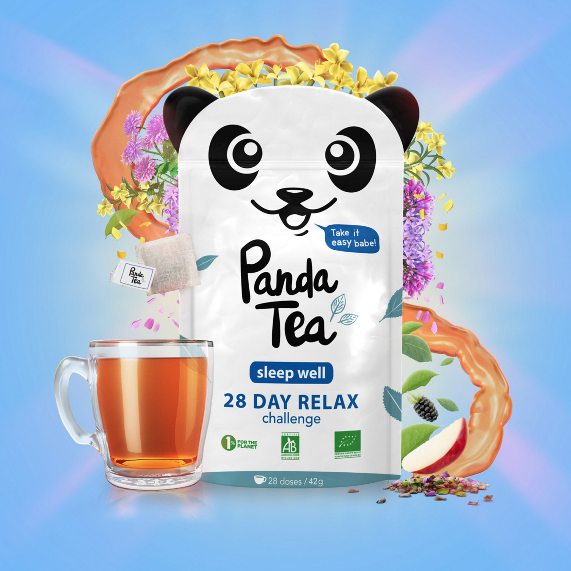 3D Liquid Panda Tea Packaging Illustration