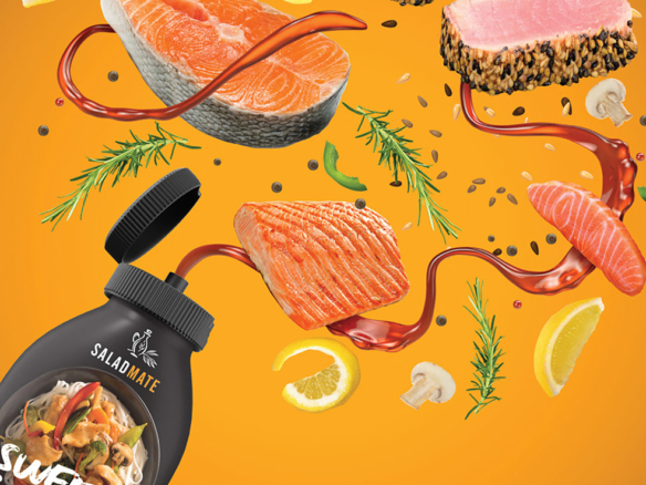 3D Salmon Sauce Food Illustration Thumbnail