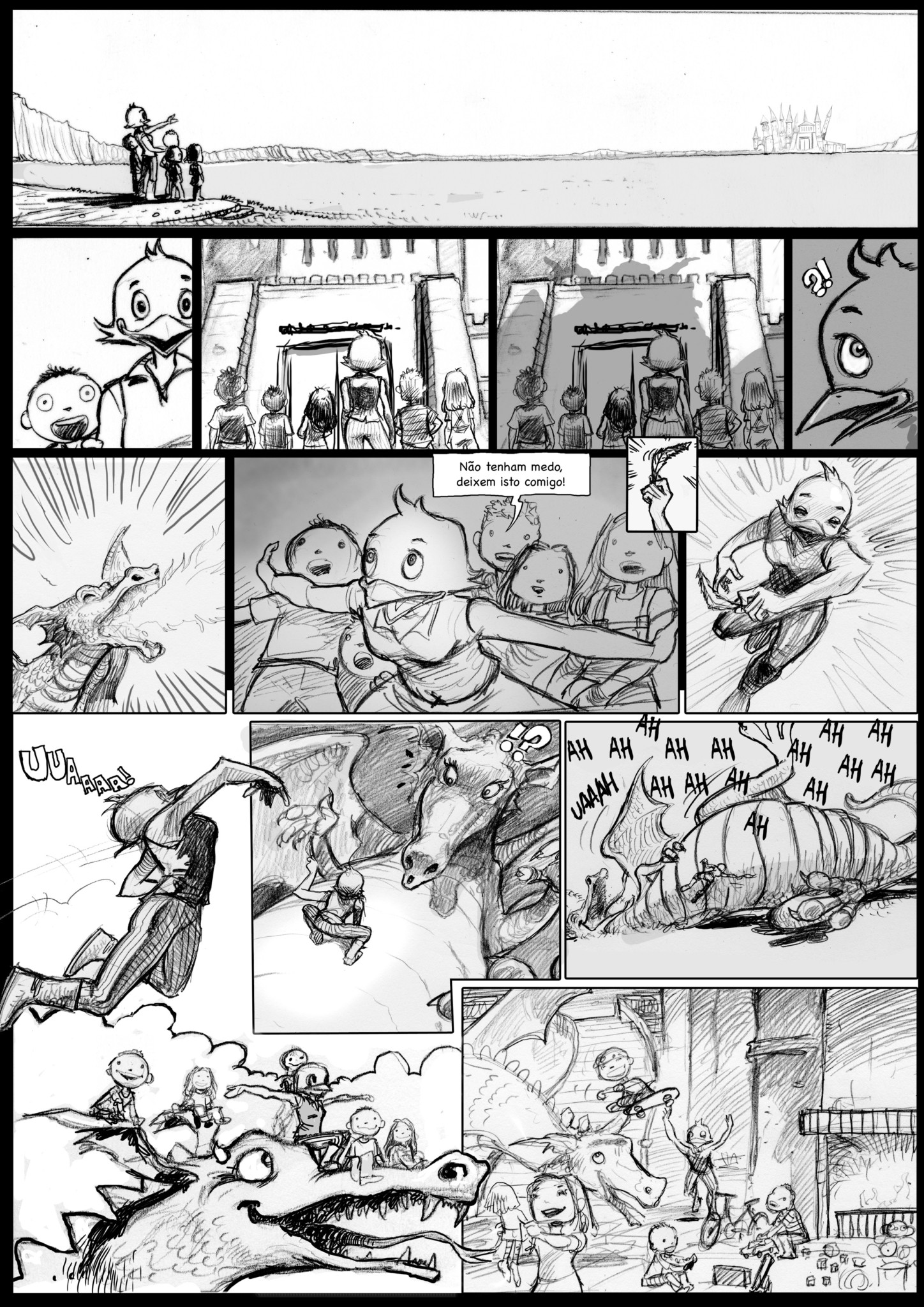 2D Dragon Fight Storyboard Illustration