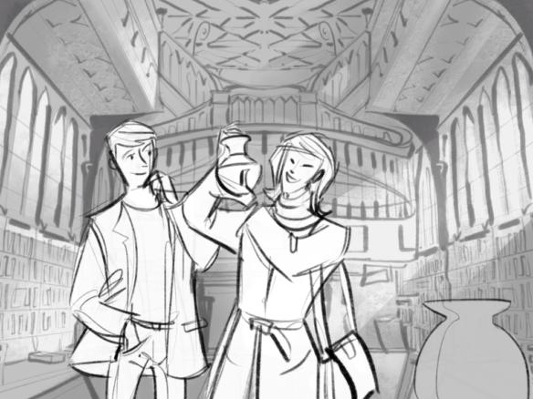 2D Fantasy film Mid Shot Storyboard Illustration Thumbnail