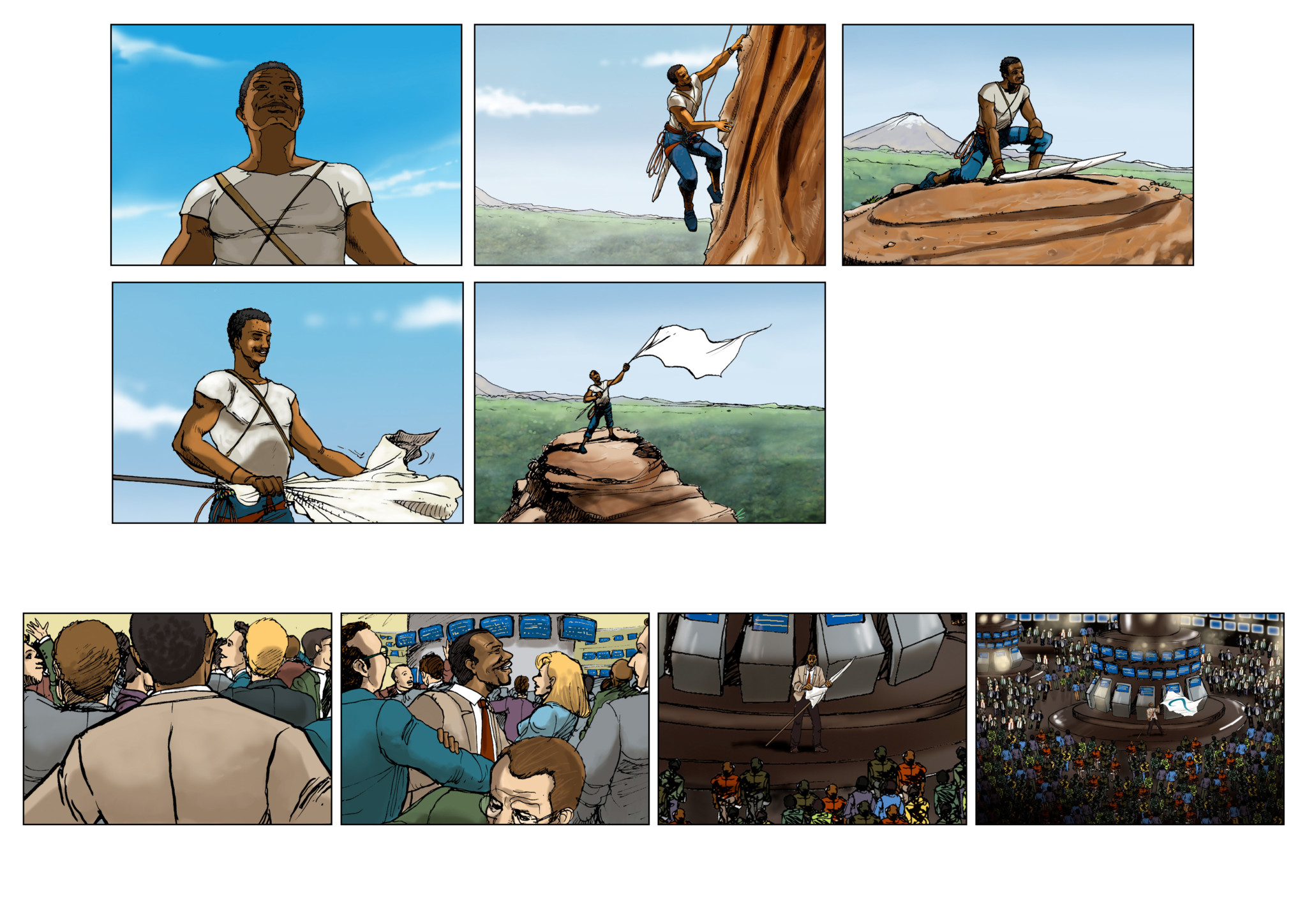 2D Flag Celebration Storyboard Illustration
