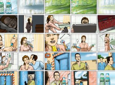2D Mouthwash Advertisement Storyboard Illustration Thumbnail