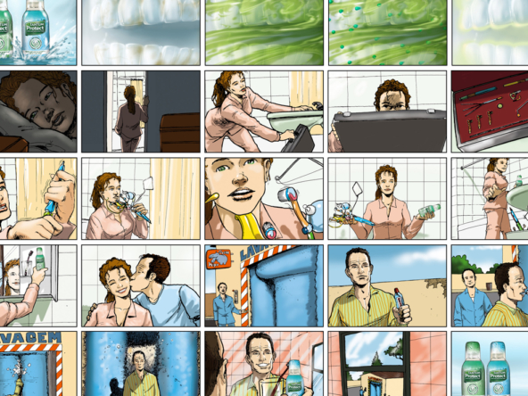 2D Mouthwash Advertisement Storyboard Illustration Thumbnail
