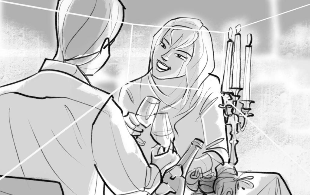 2D Romantic Dinner Shot Storyboard Illustration Thumbnail