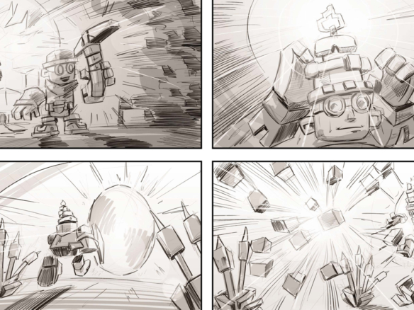 2D Skysaga Video Game Storyboard Illustration Thumbnail