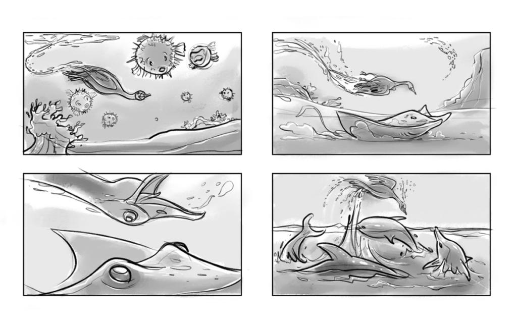 2D Swimming Swan Storyboard Illustration Thumbnail
