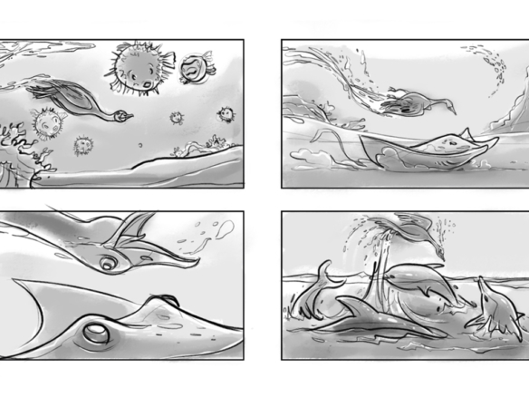 2D Swimming Swan Storyboard Illustration Thumbnail