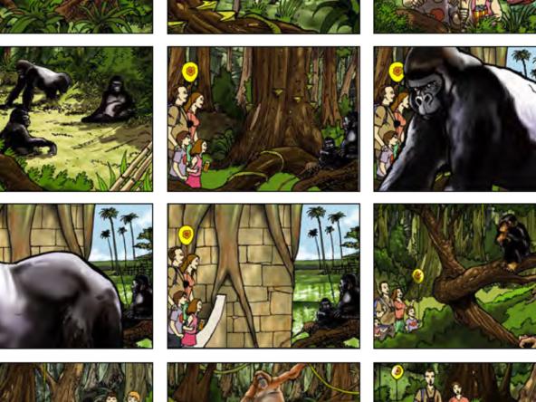 2D Wildlife Safari Advertisement Storyboard Illustration Thumbnail