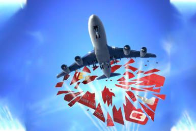 3D Plane Smashing Through Credit Card Illustration Thumbnail