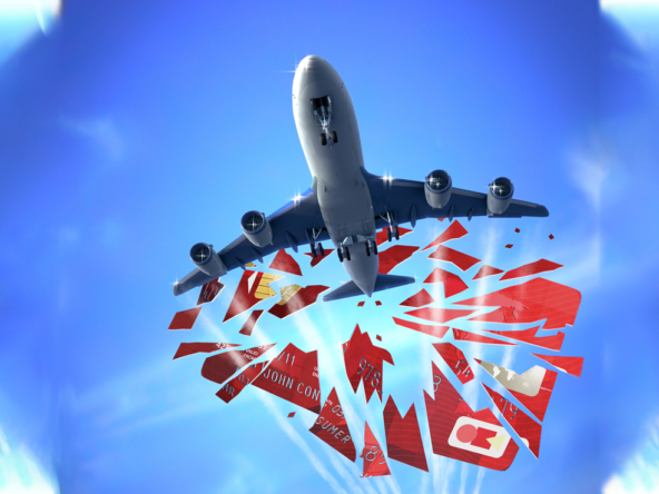 3D Plane Smashing Through Credit Card Illustration Thumbnail