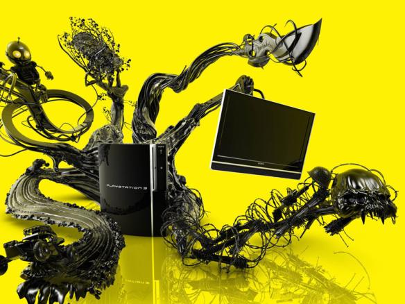 3D Playstation 3 Console Advertising Illustration Thumbnail