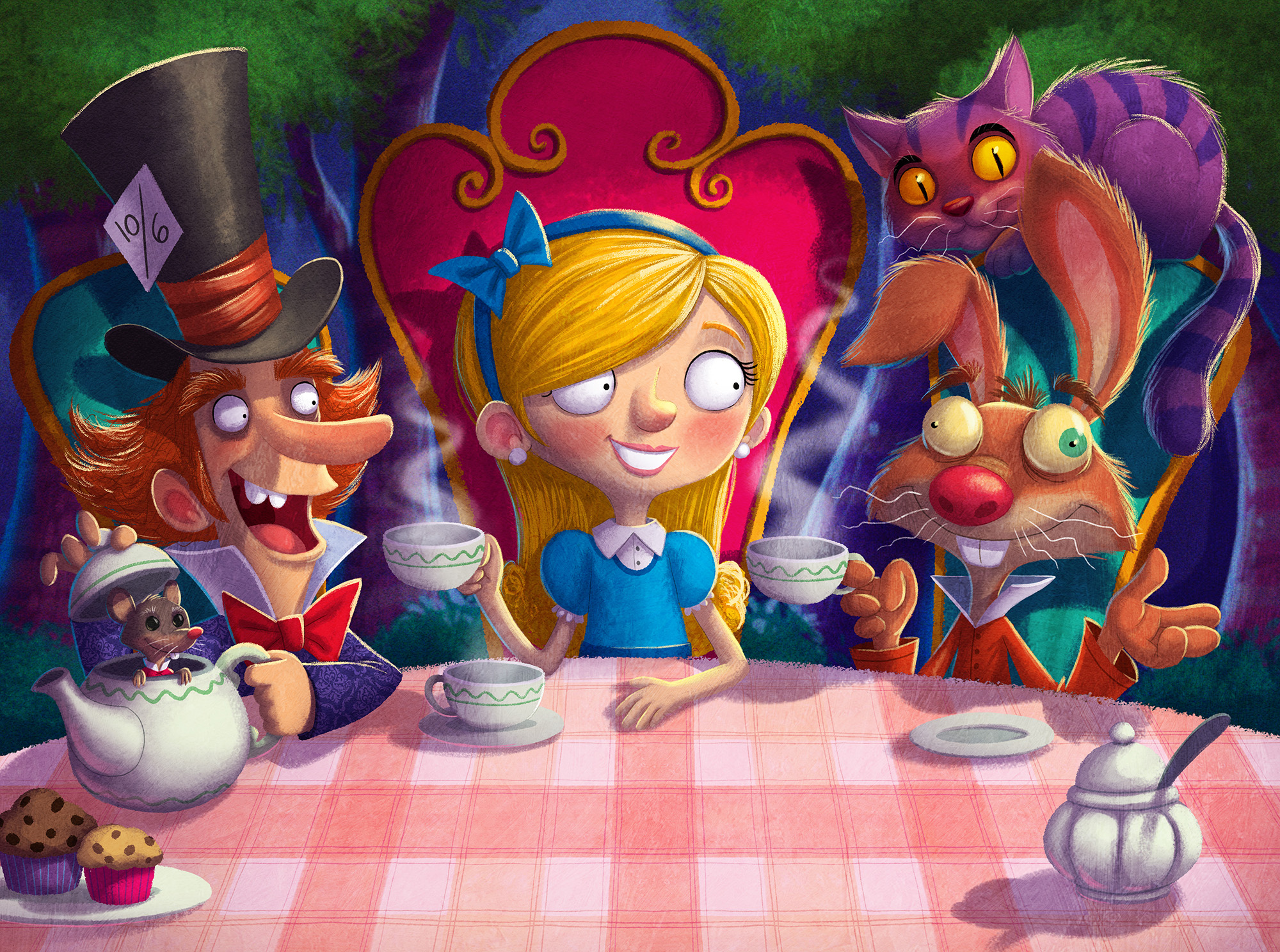 2D Alice in Wonderland Book Cover Illustration