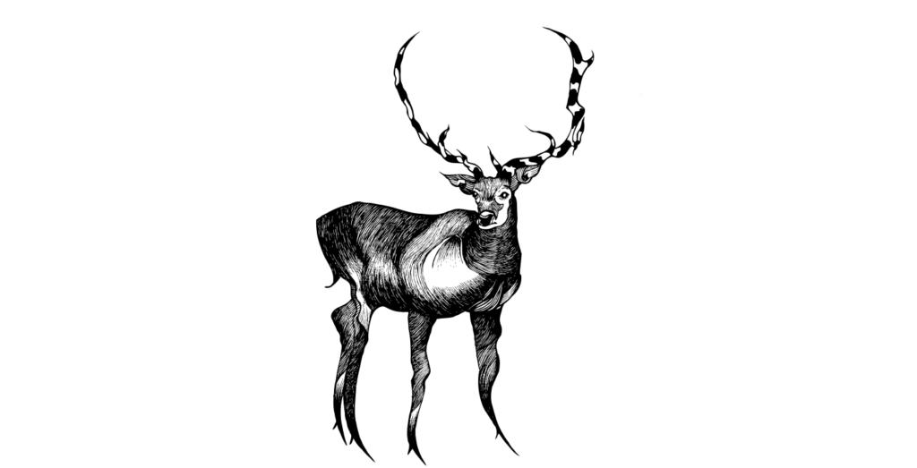 2D Black and White Deer Illustration Image